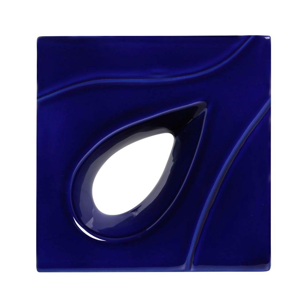 Cobogó de Cerâmica Azul Esmaltado Linha Gota 19,5x19,5x8 Cm