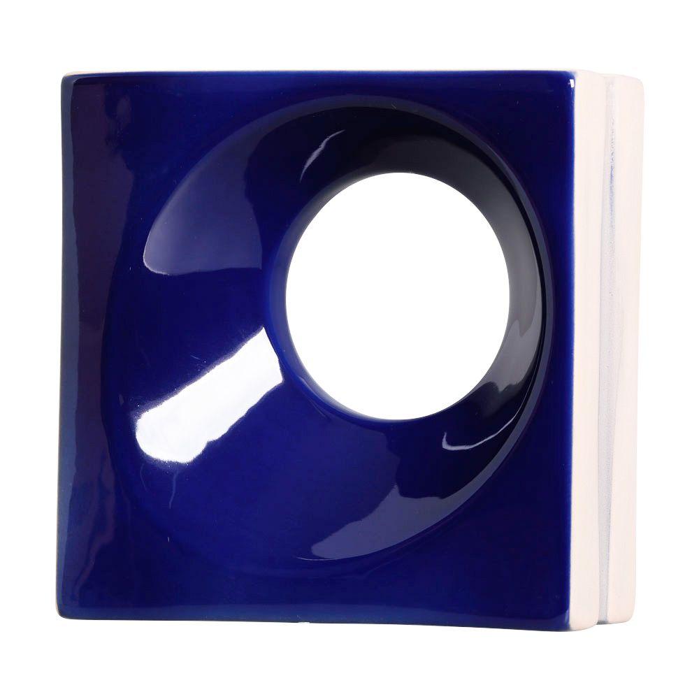 Cobogó de Cerâmica Azul Esmaltado Linha Orvalho G 19,5x19,5x8 Cm