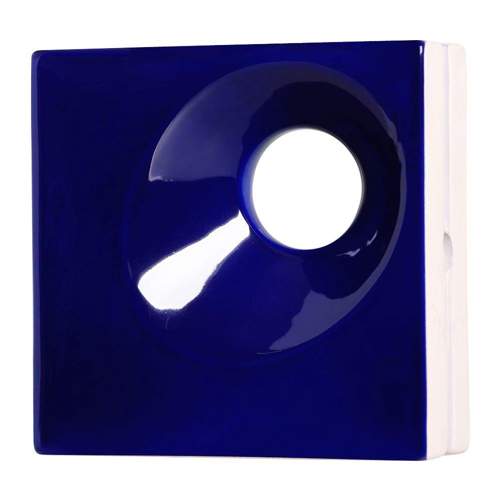 Cobogó de Cerâmica Azul Esmaltado Linha Orvalho M 19,5x19,5x8 Cm