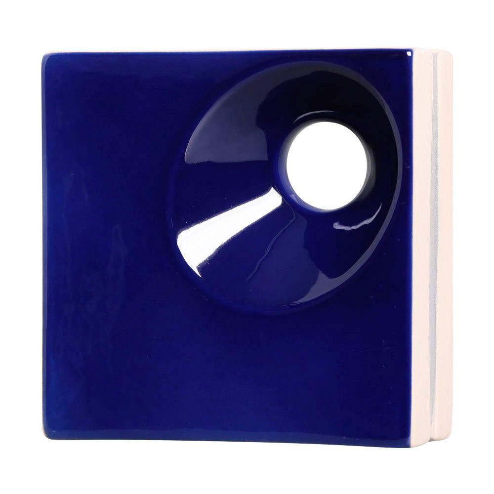 Cobogó de Cerâmica Azul Esmaltado Linha Orvalho P 19,5x19,5x8 Cm