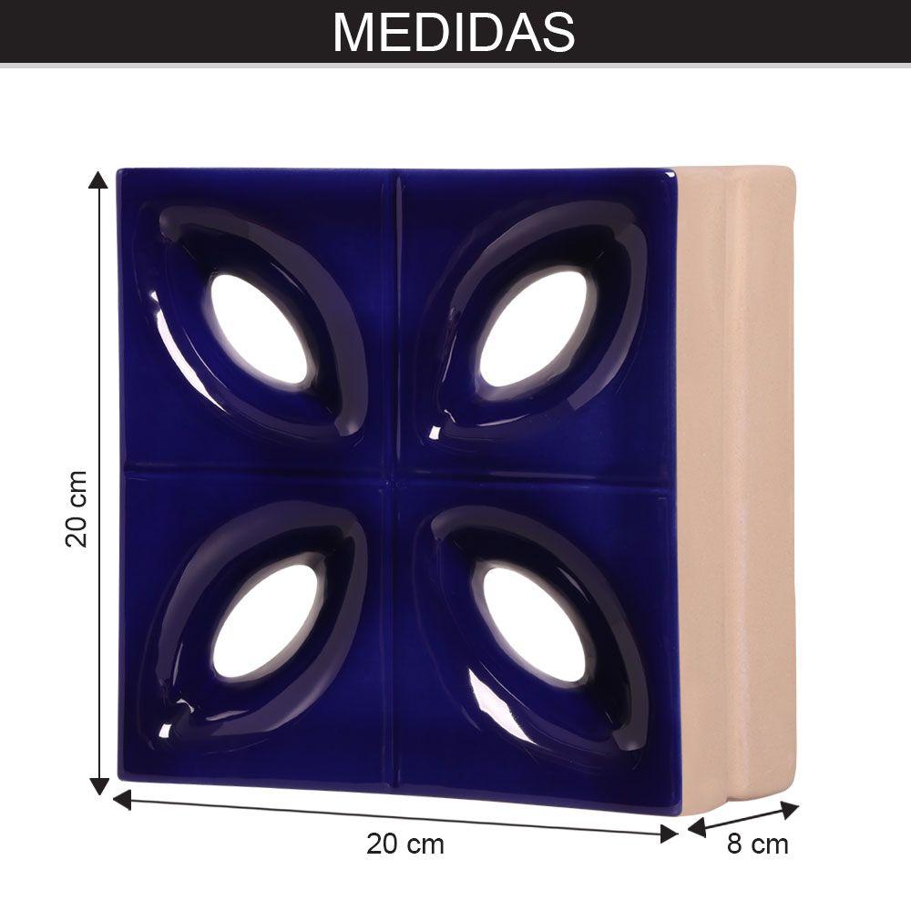 Cobogó de Cerâmica Azul Esmaltado Linha Pétala 19,5x19,5x8 Cm