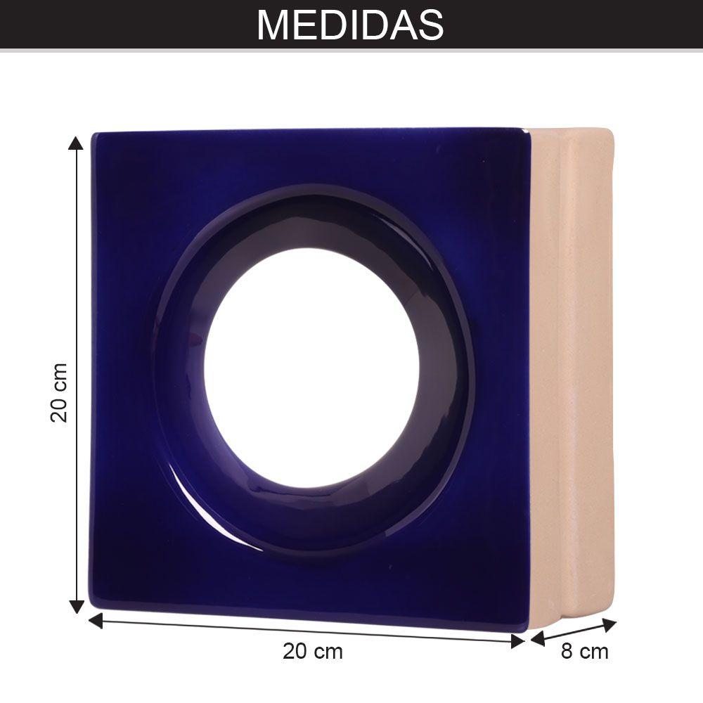 Cobogó de Cerâmica Azul Esmaltado Linha Rings  19,5x19,5x8 Cm