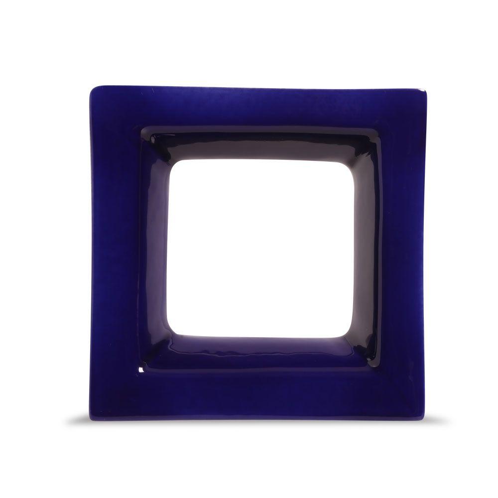 Cobogó de Cerâmica Azul Esmaltado Linha Square 19,5x19,5x8 Cm