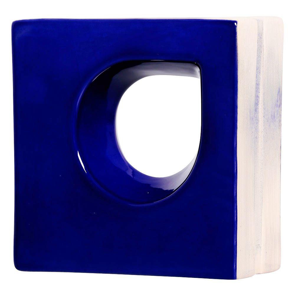 Cobogó de Cerâmica Azul Esmaltado Linha Trevo Aberto 19,5x19,5x8 Cm