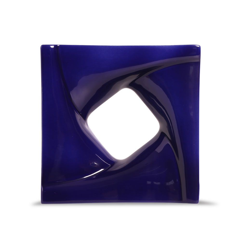 Cobogó de Cerâmica Azul Esmaltado Linha Twist 20x20x8 Cm