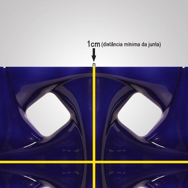 Cobogó de Cerâmica Azul Esmaltado Linha Twist 19,5x19,5x8 Cm