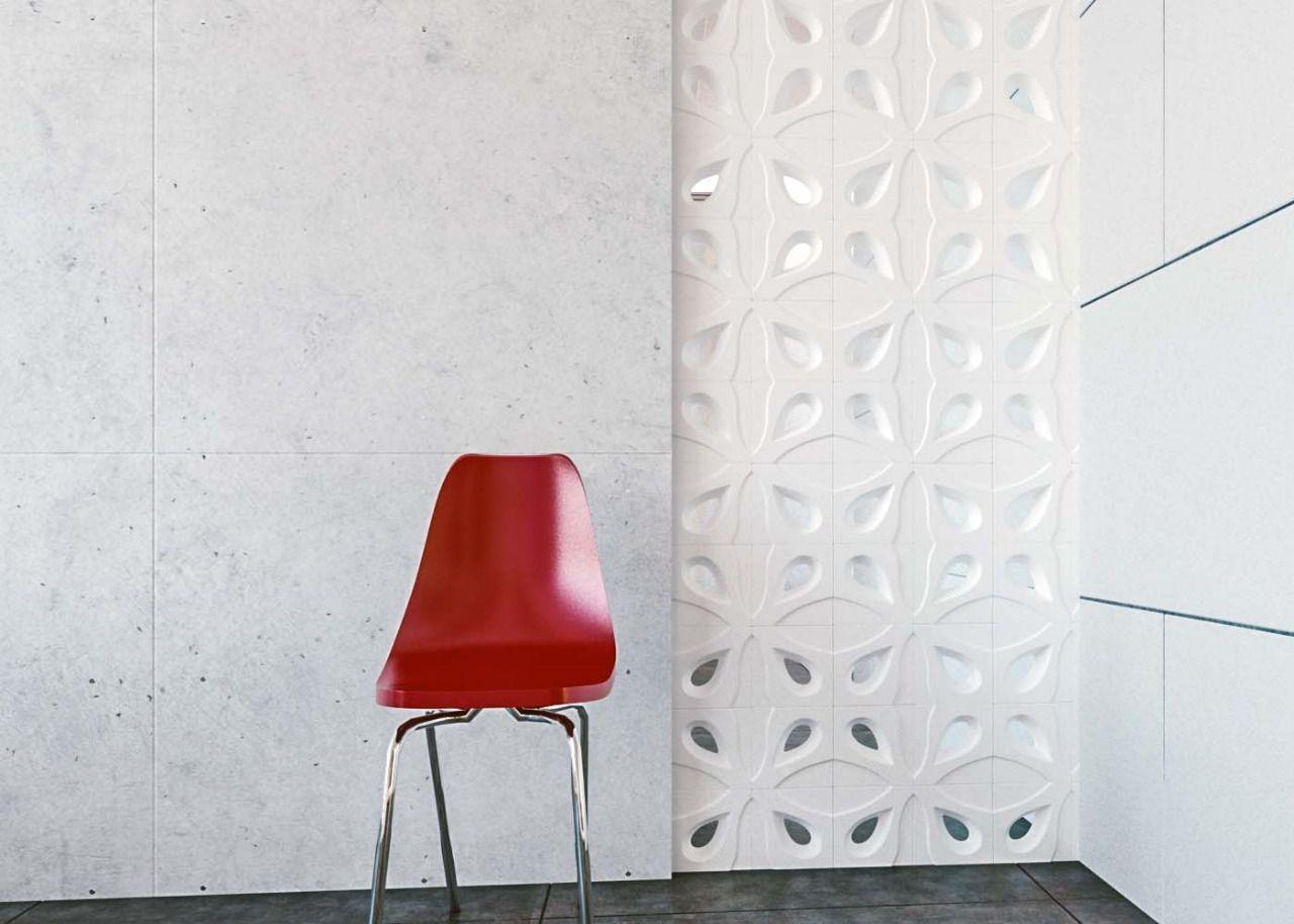 Cobogó de Cerâmica Branco Esmaltado Linha Gota 20x20x8 Cm