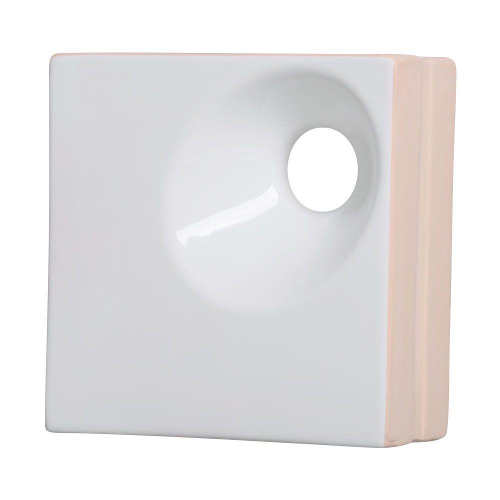 Cobogó de Cerâmica Branco Esmaltado Linha Orvalho P 19,5x19,5x8 Cm