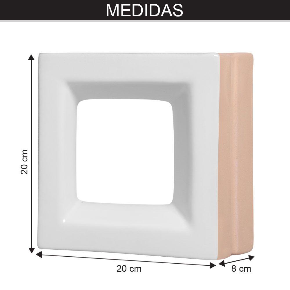 Cobogó de Cerâmica Branco Esmaltado Linha Square 19,5x19,5x8 Cm