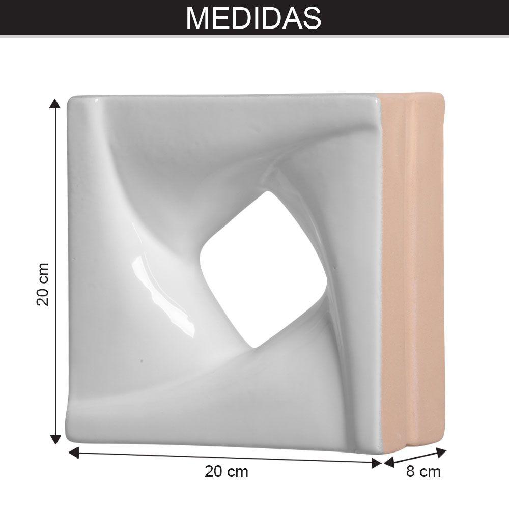 Cobogó de Cerâmica Branco Esmaltado Linha Twist 20x20x8 Cm