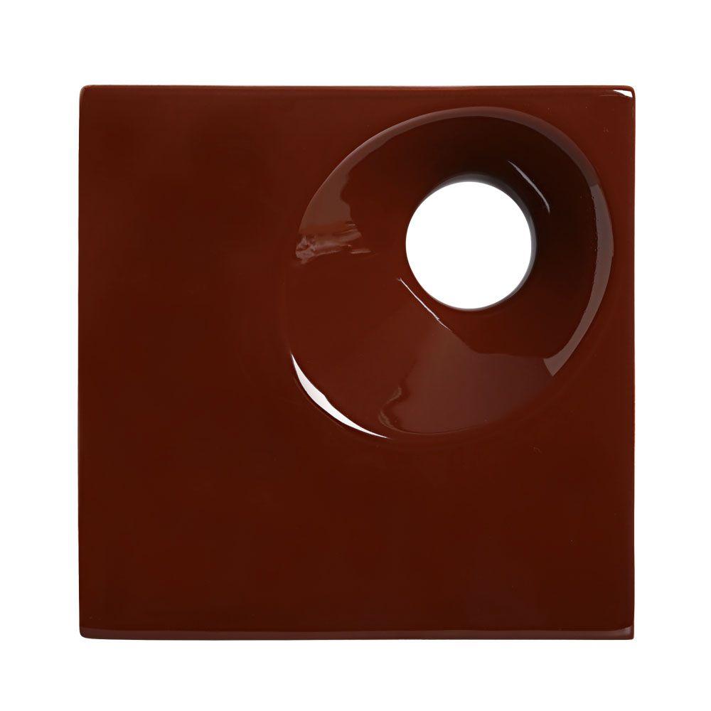Cobogó de Cerâmica Marrom Esmaltado Linha Orvalho P 20x20x8 Cm