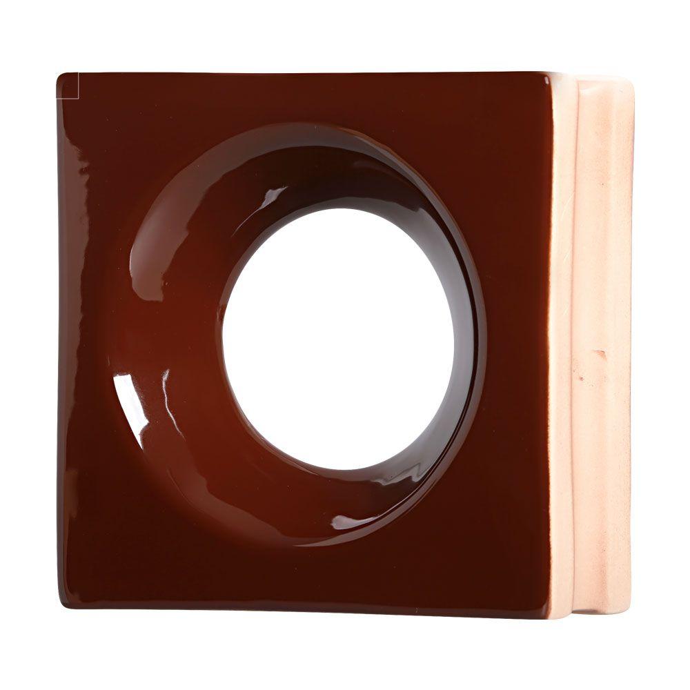 Cobogó de Cerâmica Marrom Esmaltado Linha Rings 20x20x8 Cm