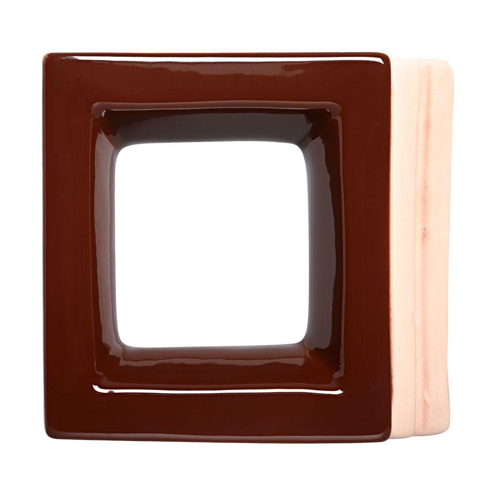 Cobogó de Cerâmica Marrom Esmaltado Linha Square 20x20x8 Cm