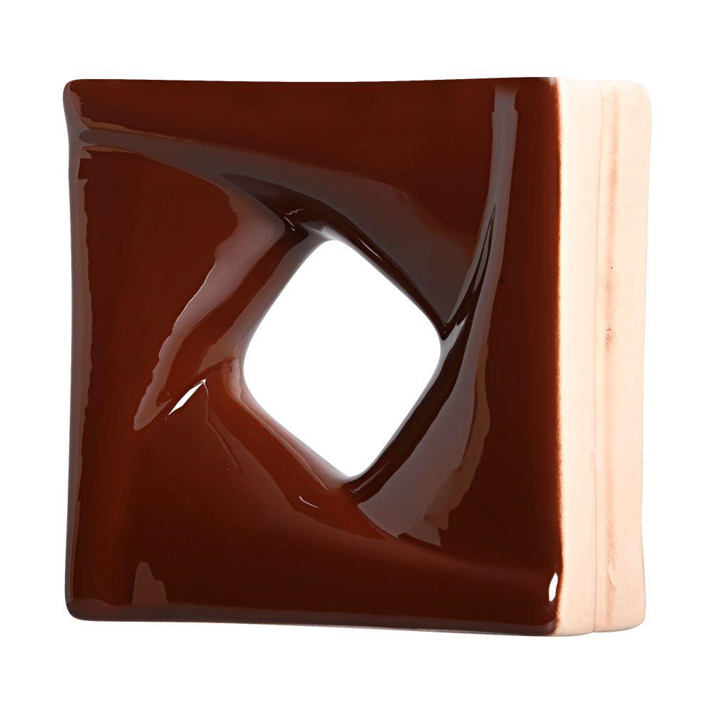 Cobogó de Cerâmica Marrom Esmaltado Linha Twist 19,5x19,5x8 cm