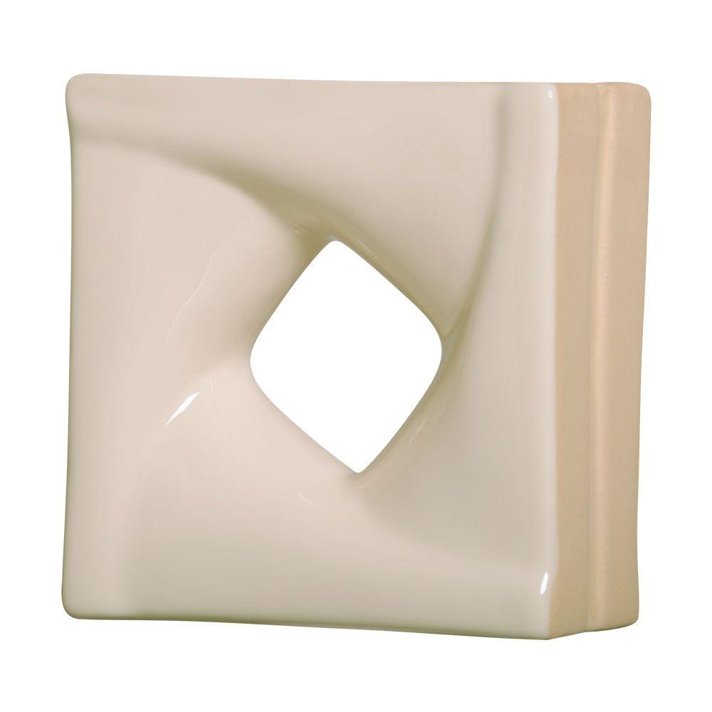 Cobogó de Cerâmica Nude Esmaltado Linha Twist 19,5x19,5x8 Cm