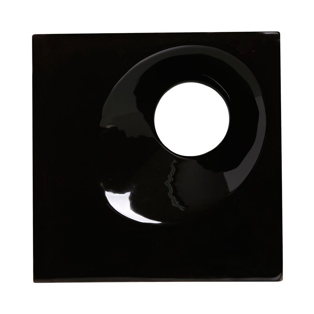 Cobogó de Cerâmica Preto Esmaltado Linha Orvalho M 19,5x19,5x8 Cm