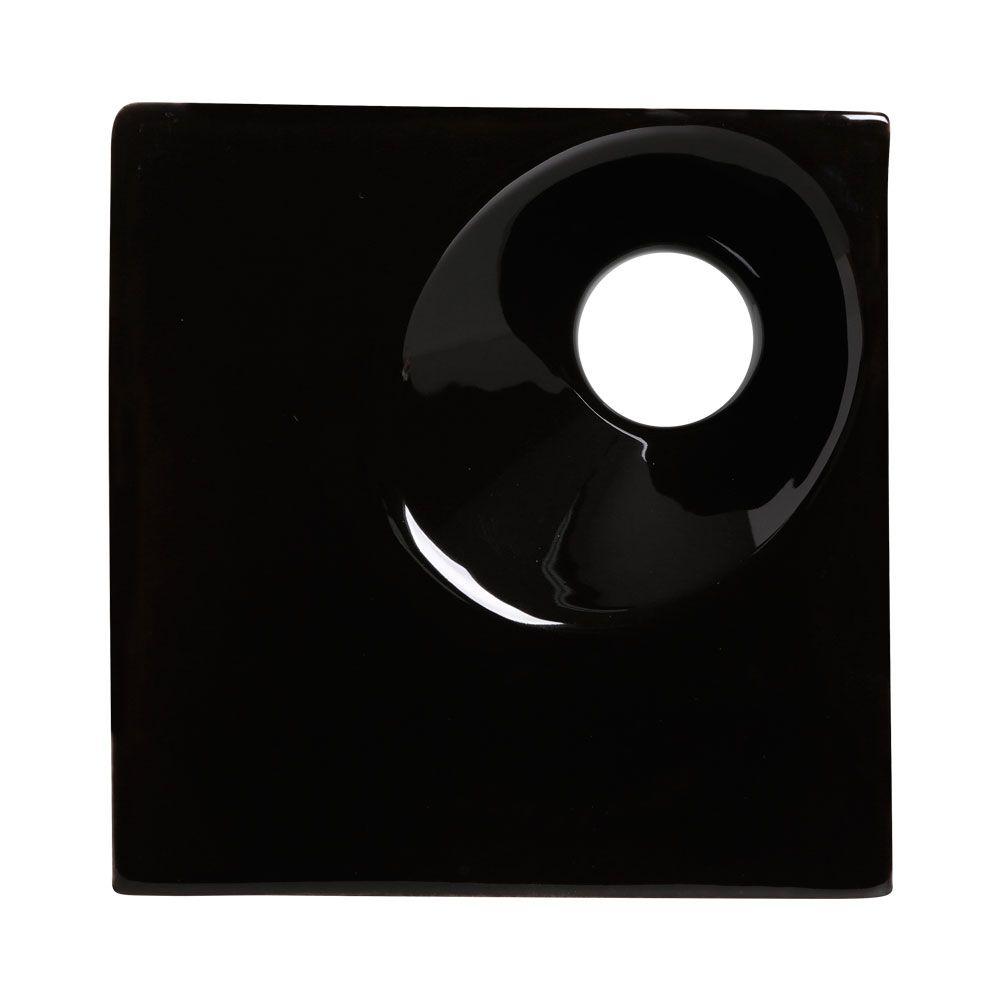 Cobogó de Cerâmica Preto Esmaltado Linha Orvalho P 19,5x19,5x8 Cm