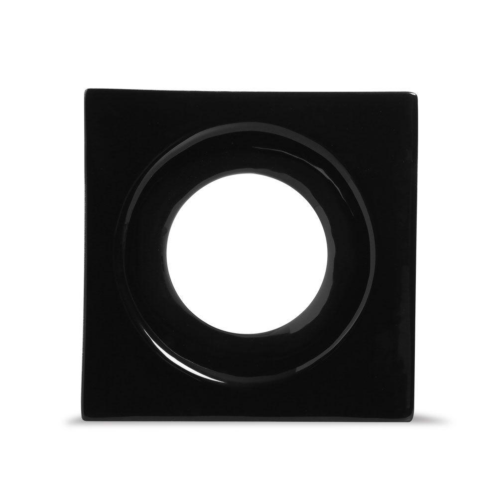 Cobogó de Cerâmica Preto Esmaltado Linha Rings  19,5x19,5x8 Cm