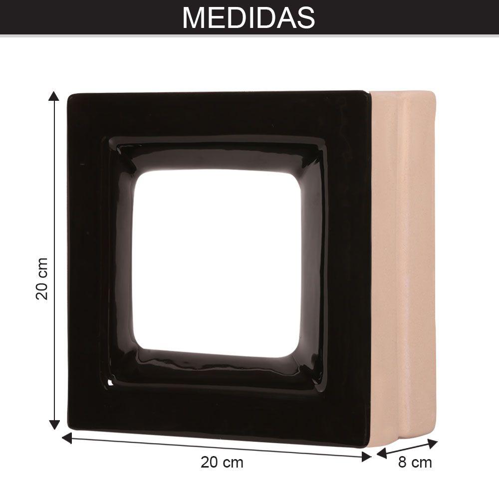 Cobogó de Cerâmica Preto Esmaltado Linha Square 19,5x19,5x8 Cm