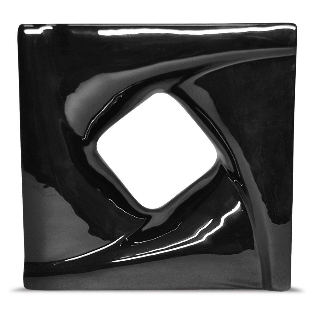 Cobogó de Cerâmica Preto Esmaltado Linha Twist 19,5x19,5x8Cm