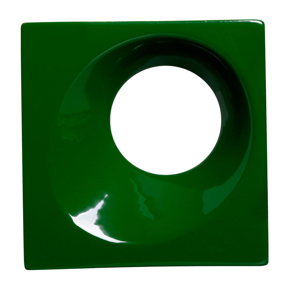 Cobogó de Cerâmica Verde Esmaltado Linha Orvalho G 19,5x19,5x8 Cm