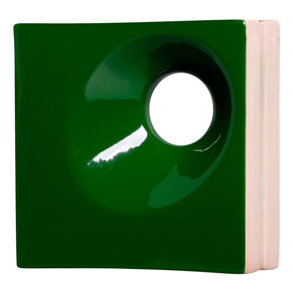 Cobogó de Cerâmica Verde Esmaltado Linha Orvalho M 19,5x19,5x8 Cm