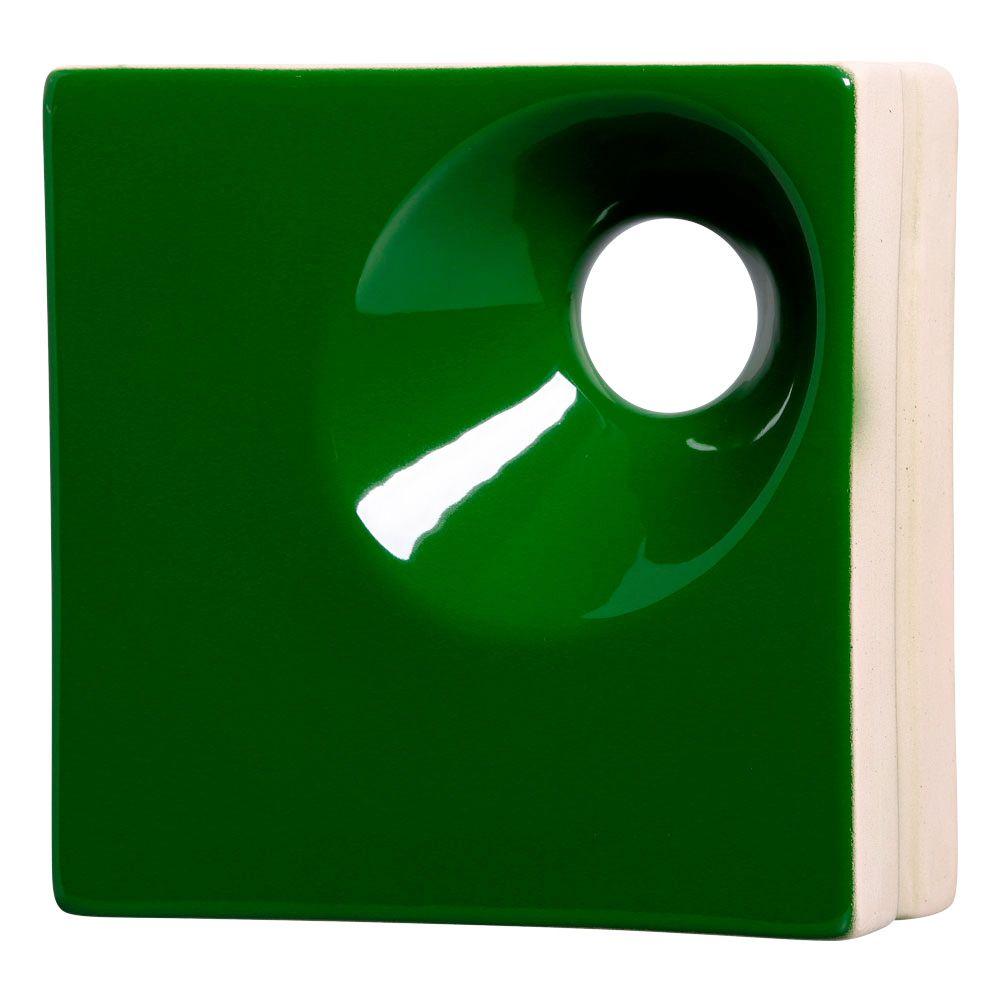 Cobogó de Cerâmica Verde Esmaltado Linha Orvalho P 19,5x19,5x8 Cm