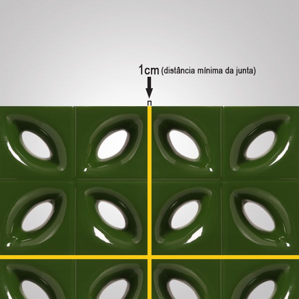 Cobogó de Cerâmica Verde Esmaltado Linha Pétala 19,5x19,5x8 Cm