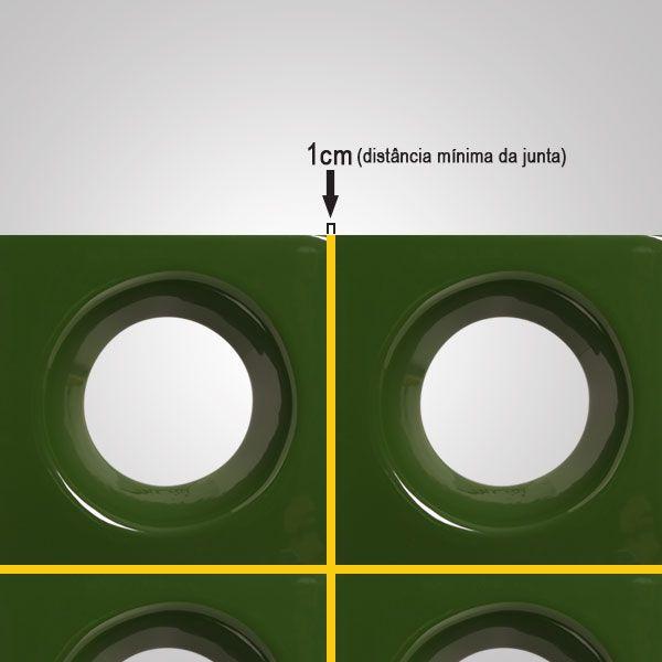 Cobogó de Cerâmica Verde Esmaltado Linha Rings 20x20x8 Cm