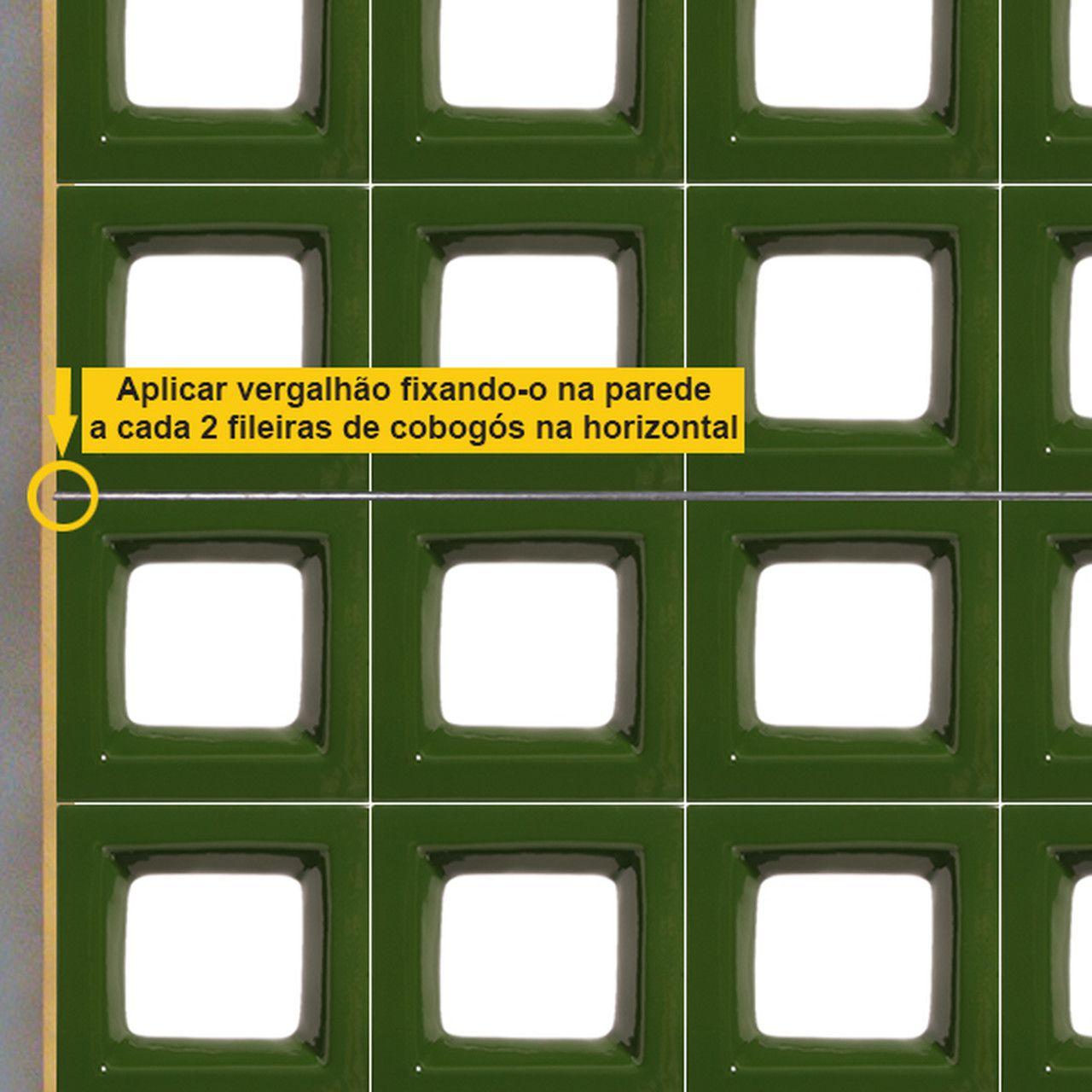 Cobogó de Cerâmica Verde Esmaltado Linha Square 19,5x19,5x8 Cm