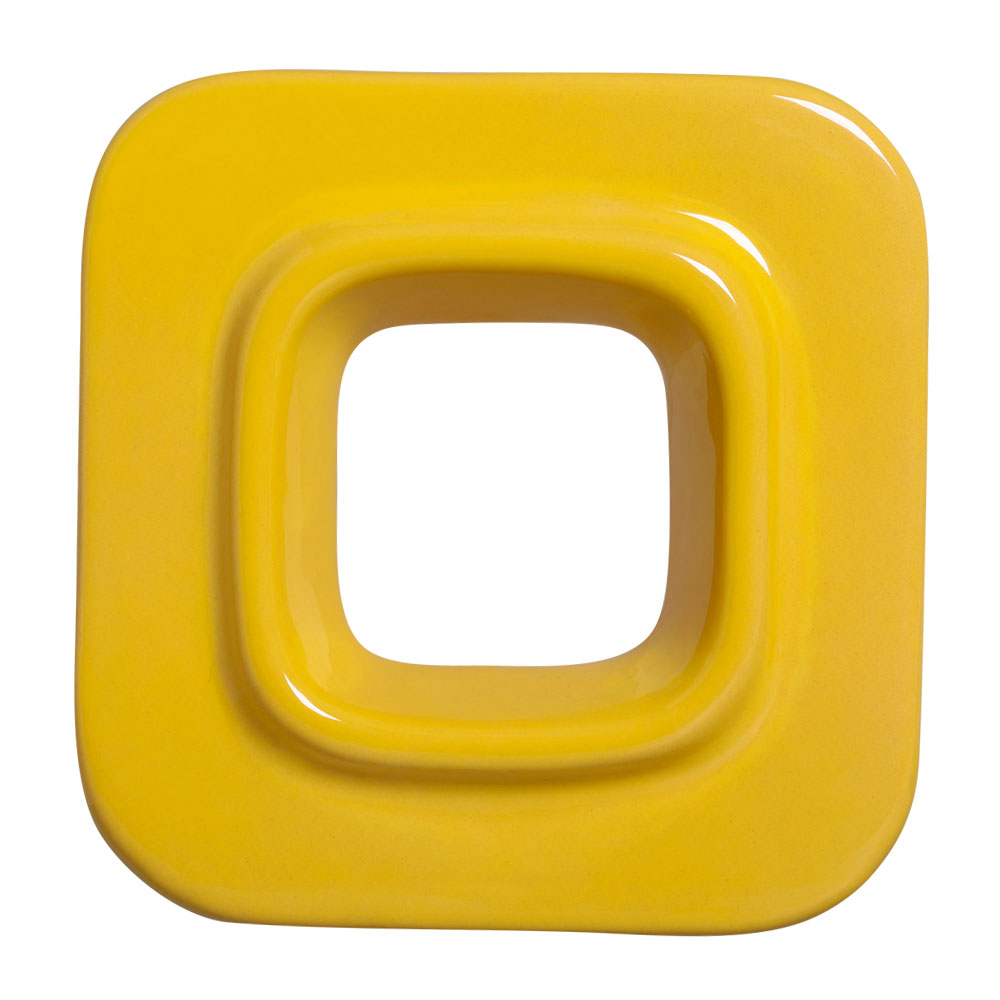 Cobogó Nova Bauhaus Quadrado Amarelo em Cerâmica Esmaltada 19,5x19,5x6,5 Cm
