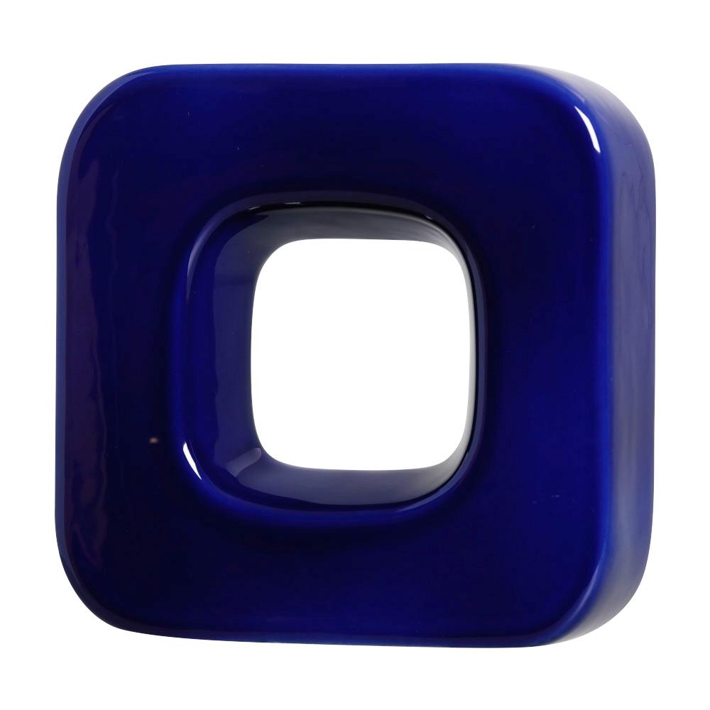 Cobogó Nova Bauhaus Quadrado Azul Cobalto em Cerâmica Esmaltada 19,5x19,5x6 Cm