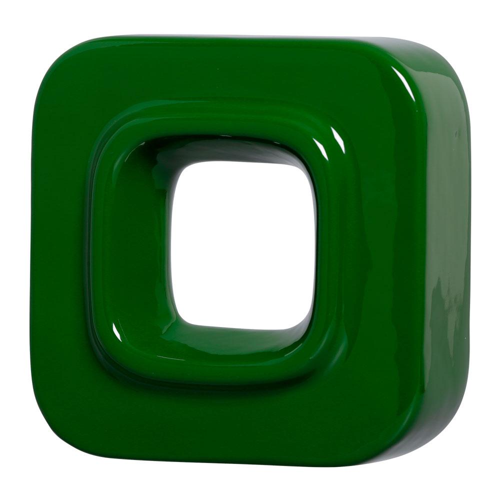 Cobogó Nova Bauhaus Quadrado Verde em Cerâmica Esmaltada 19,5x19,5x6,5 Cm