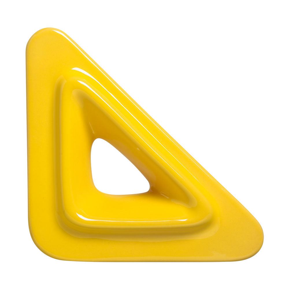 Cobogó Nova Bauhaus Triângulo V Amarelo Em Cerâmica Esmaltada 19,5x19,5x6 Cm