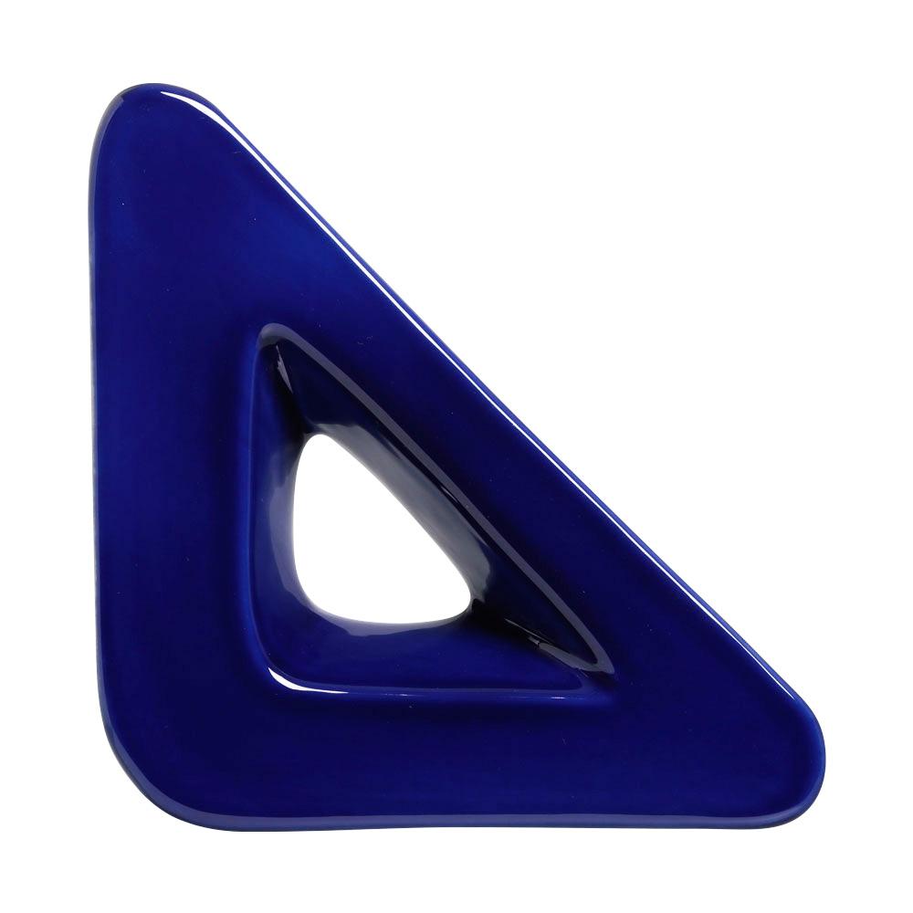 Cobogó Nova Bauhaus Triângulo V Azul Cobalto Em Cerâmica Esmaltada 19,5x19,5x6 Cm