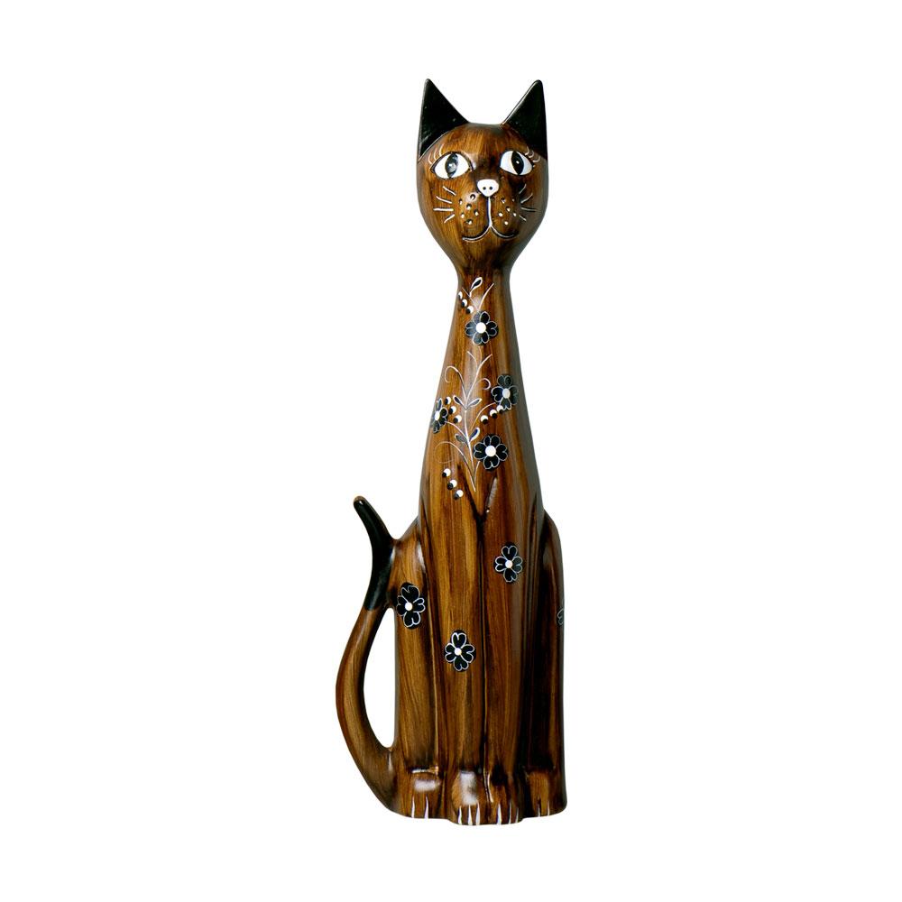 Dupla de Gatos Alto Marrom Em Cerâmica P/ Decoração Casa
