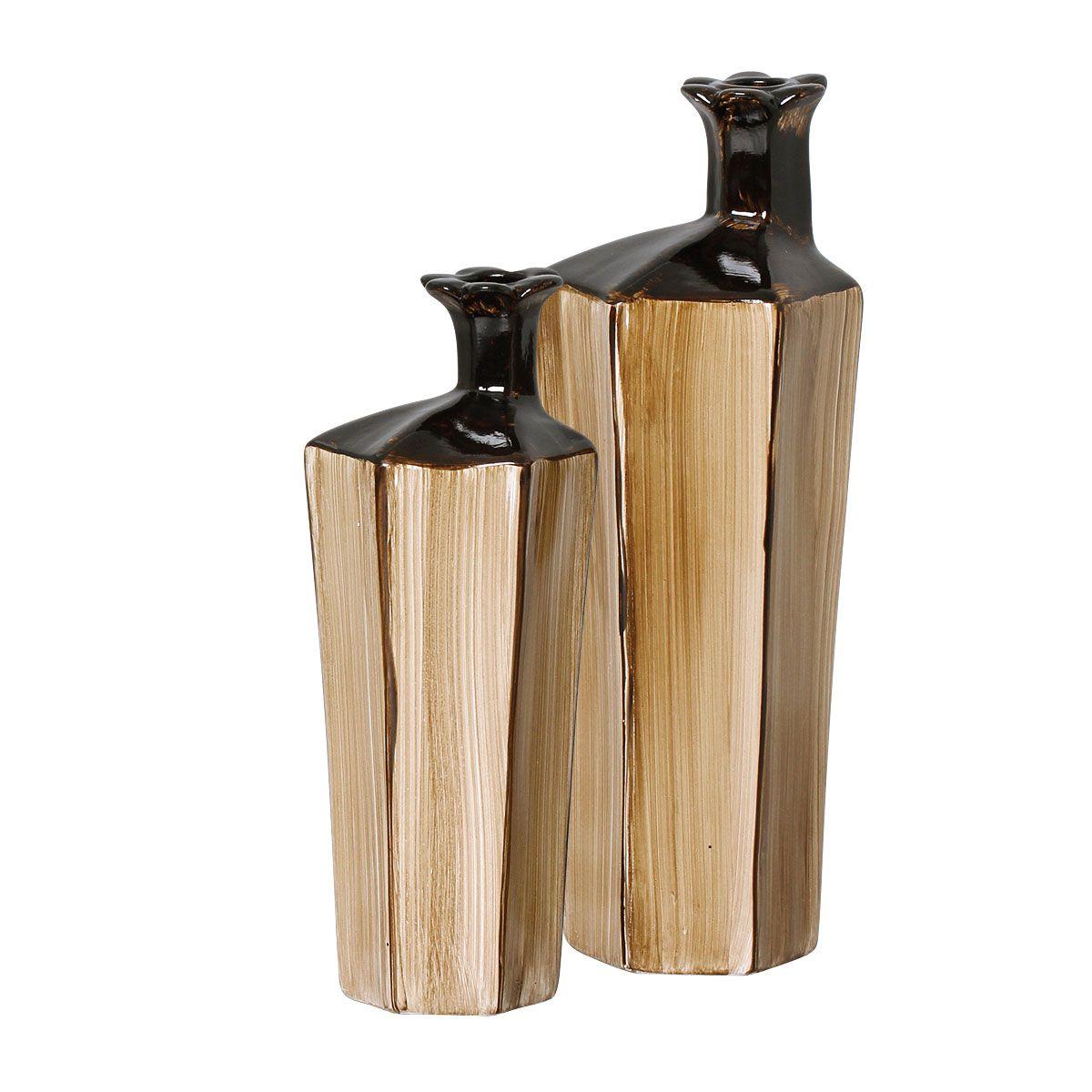 Dupla de Vasos Decorativos Cor Betume Linha Toscana