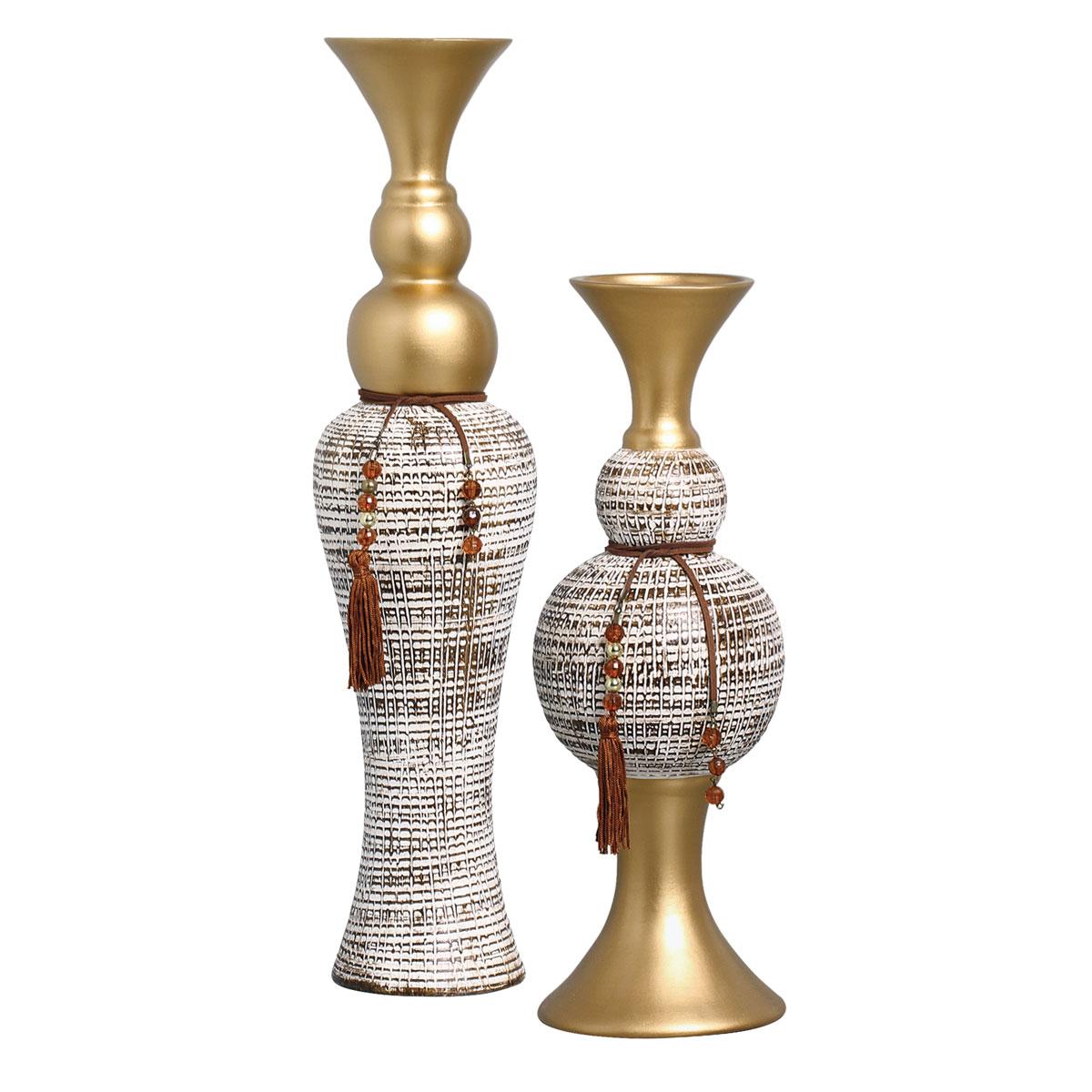 Dupla de Vasos Decorativos Em Cerâmica Linha Renda