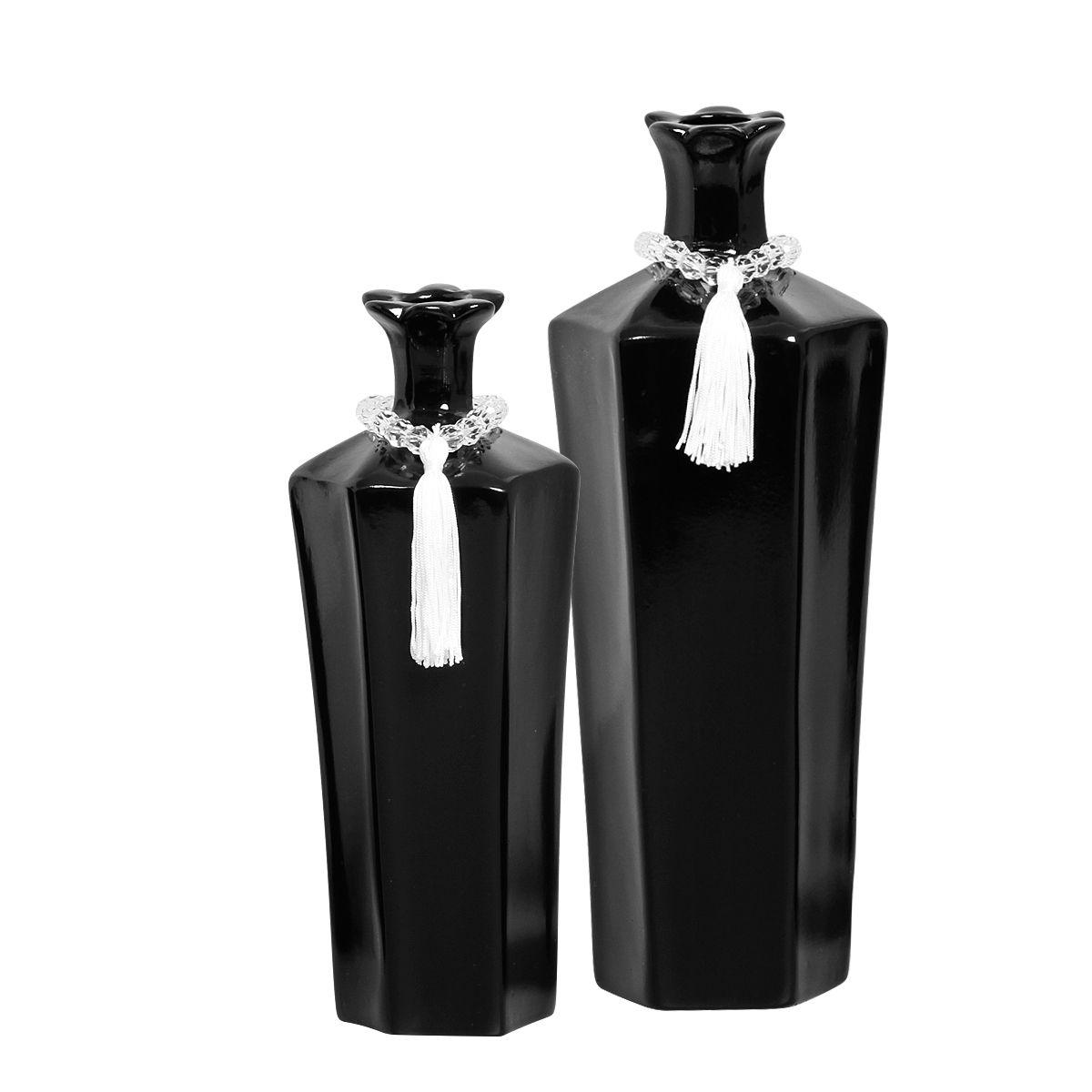 Dupla de Vasos Decorativos Linha Black Tie