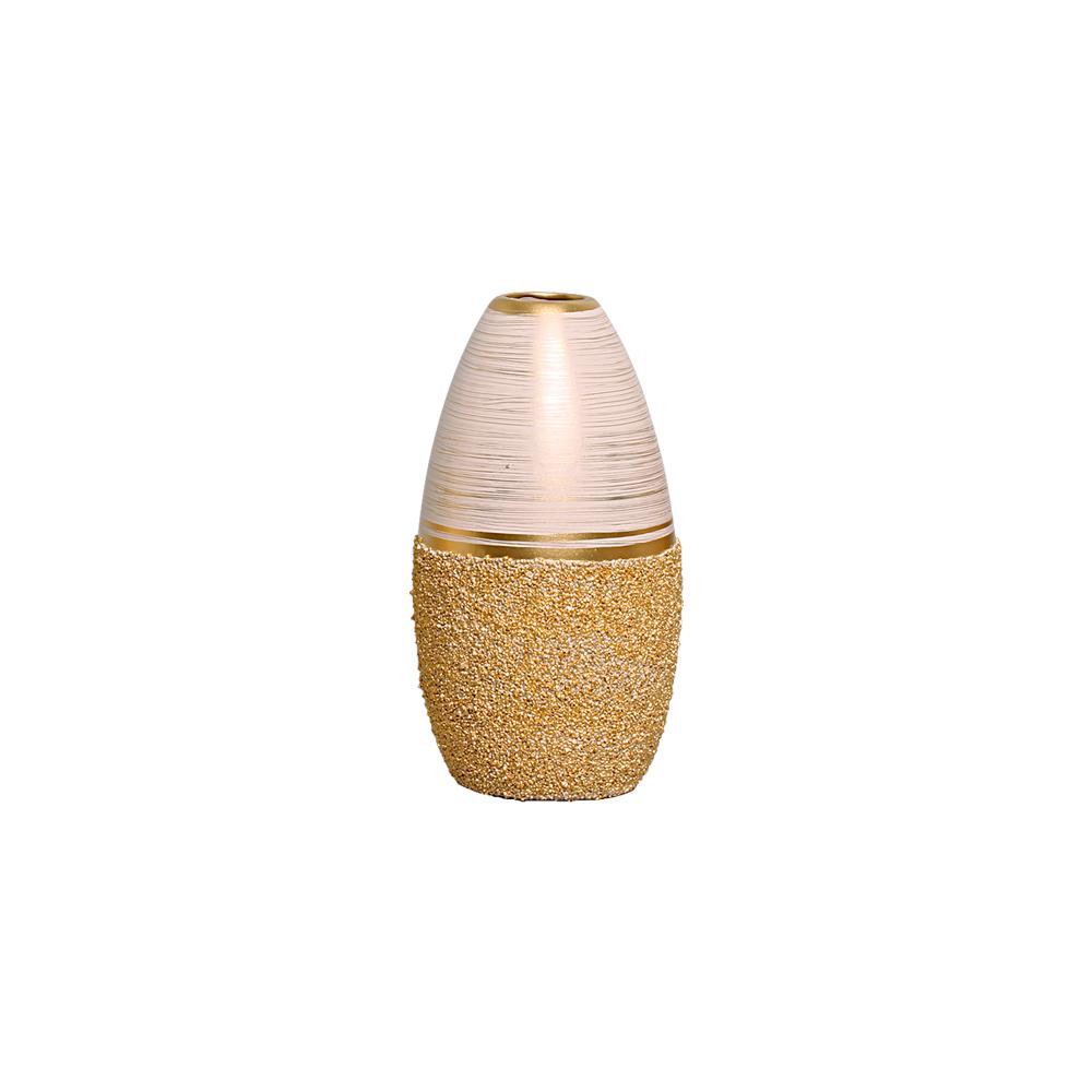 Dupla de Vasos Em Cerâmica Bege C/ Dourado Linha Areia