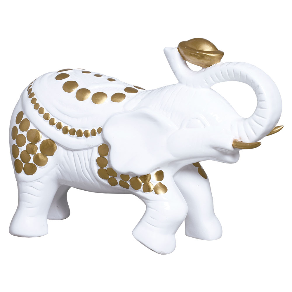 Elefante em Cerâmica Branco e Dourado Linha Glamour 25x34 cm