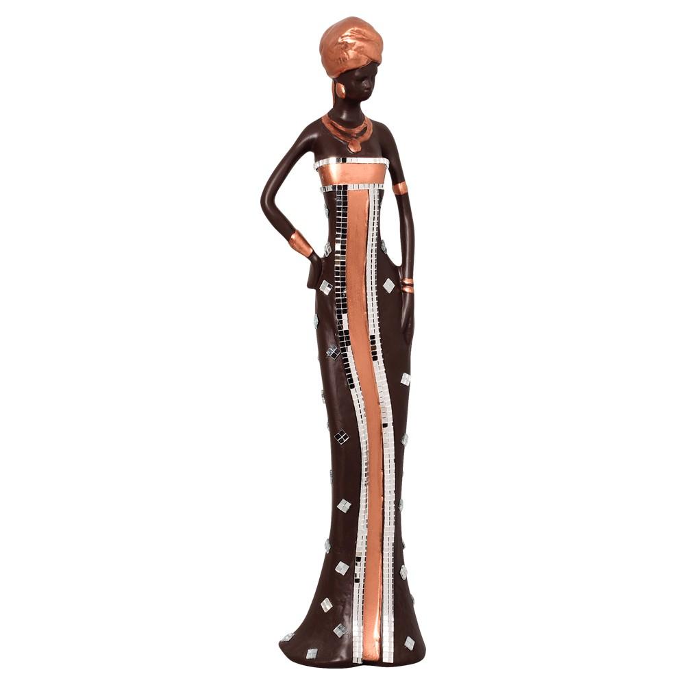 Estatueta Africana Cerâmica Da Linha Topázio 62,5x15,5 cm