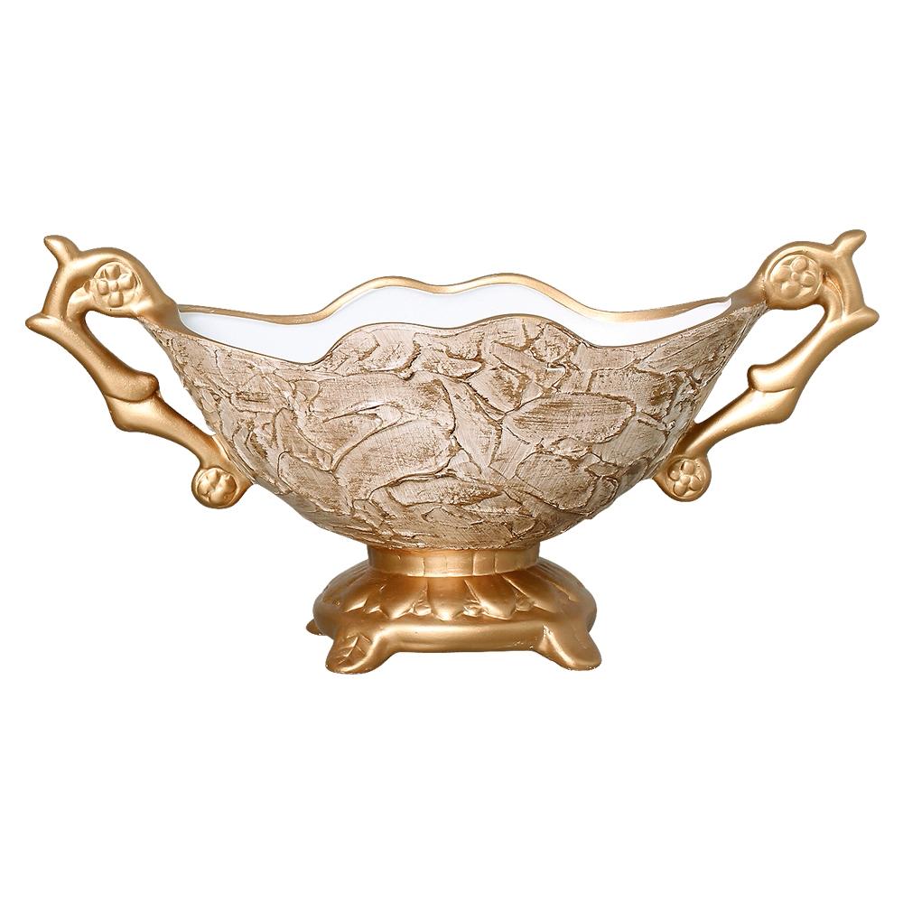 Floreira Em cerâmica Dourado e Bege Linha Renda 19,5x40 cm