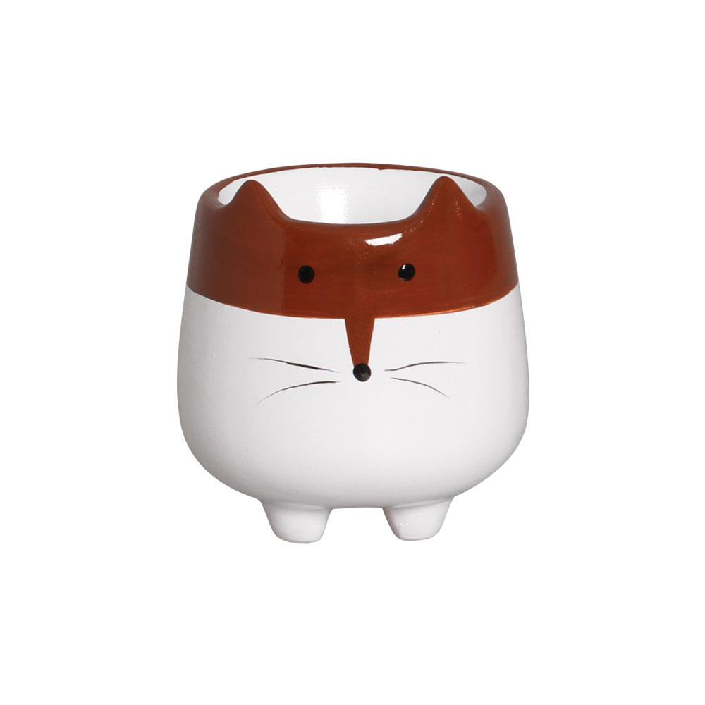 Mini Vasinho Bichinho Marrom e Branco Cerâmica 8,7x8,1 cm