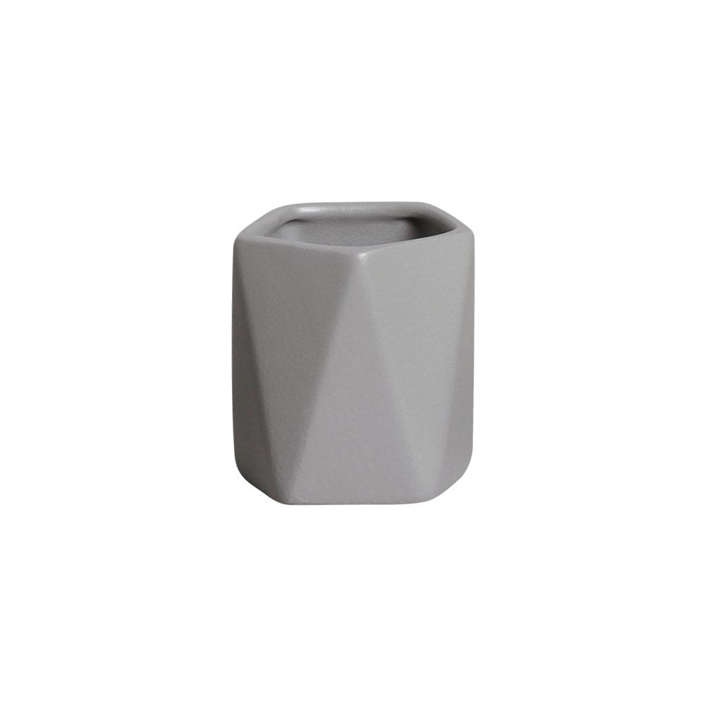 Mini Vasinho Geométrico Cerâmica Cinza 8,3x7,3 cm