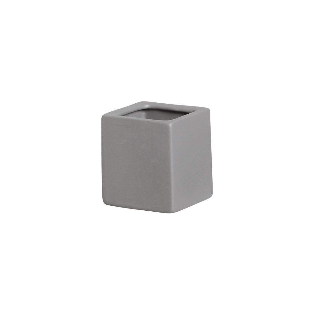 Mini Vasinho Quadrado Cerâmica Cinza 6,5x5,5 cm