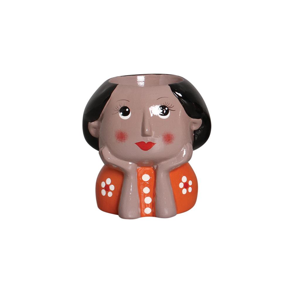 Mini Vaso Morena Olhos Abertos Em Cerâmica 12,2x11,7 cm