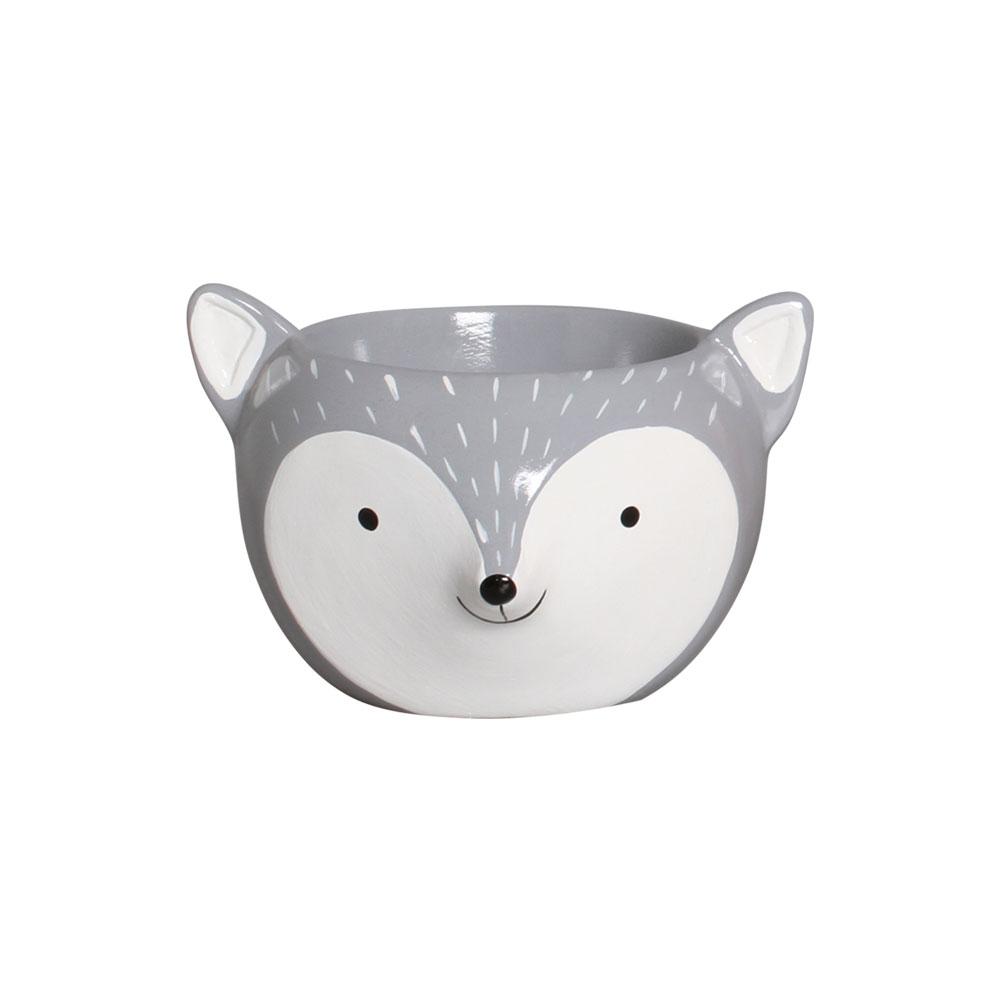 Mini Vaso Raposinha Cinza Cerâmica Suculentas 10,1x14,9 cm