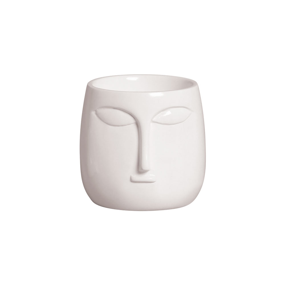 Mini Vaso Rosto Cerâmica Branco 10x10,2 cm
