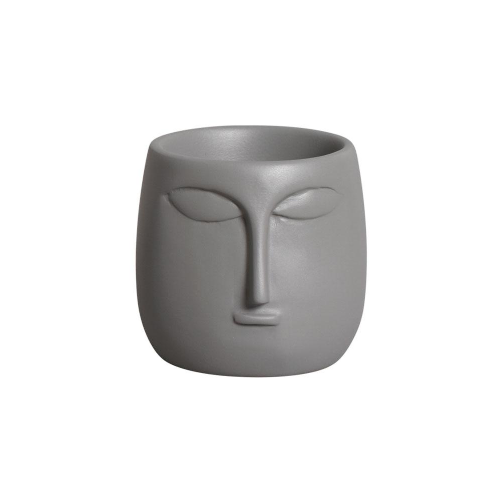 Mini Vaso Rosto Cerâmica Cinza 10x10,2 cm